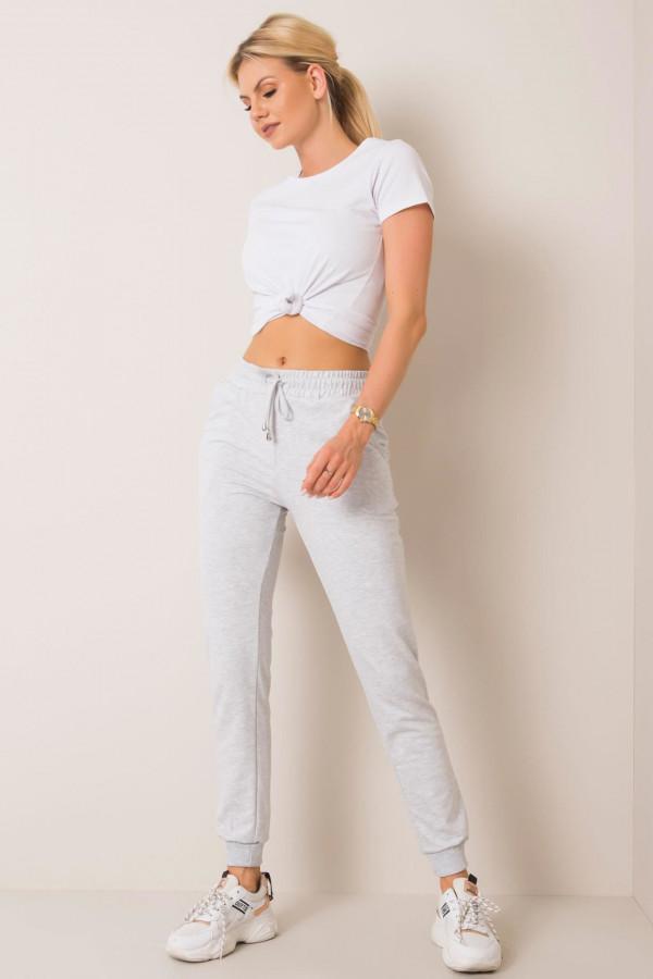 Szare spodnie dresowe ze ściągaczami Lilo