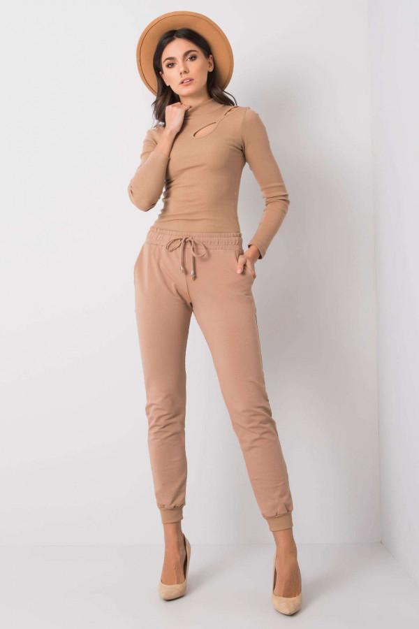 Karmelowe spodnie dresowe ze ściągaczami Lilo