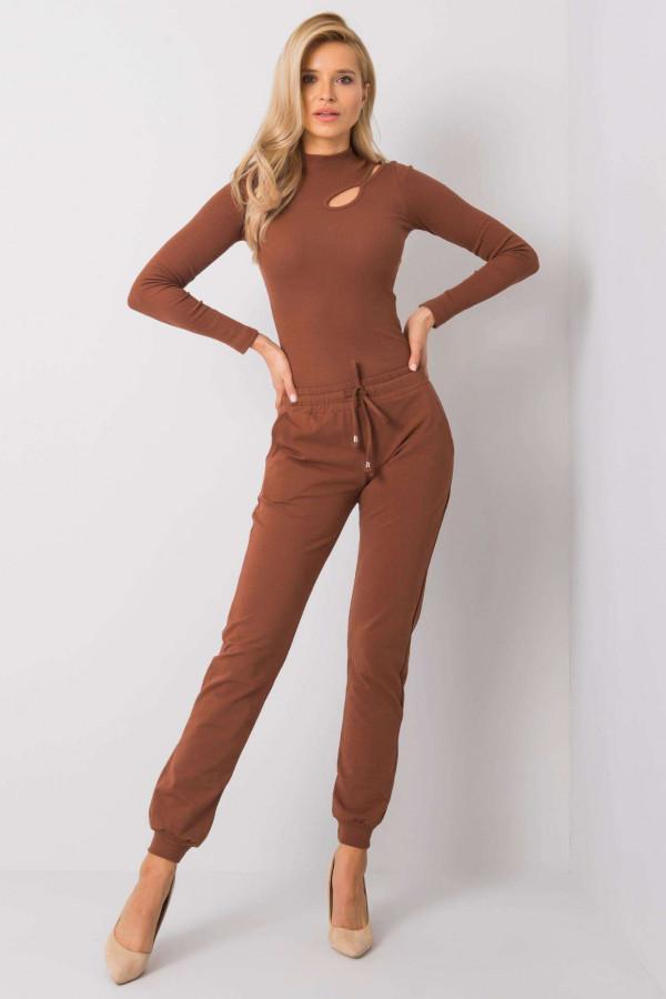 Brązowe spodnie dresowe ze ściągaczami Lilo