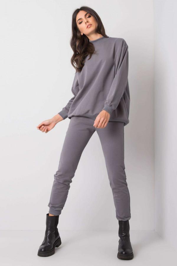 Ciemnoszare spodnie dresowe ze ściągaczami Lilo
