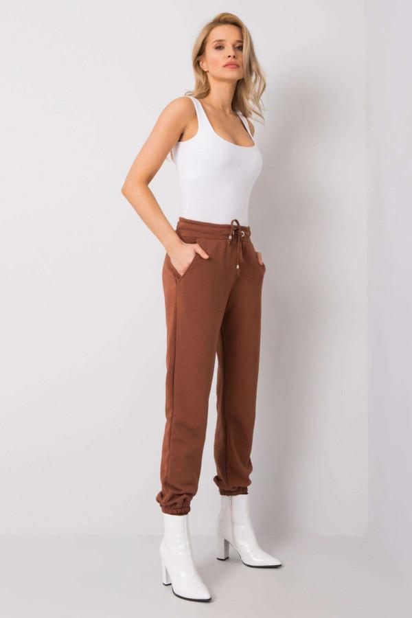 Brązowe spodnie dresowe ze ściągaczami Asma