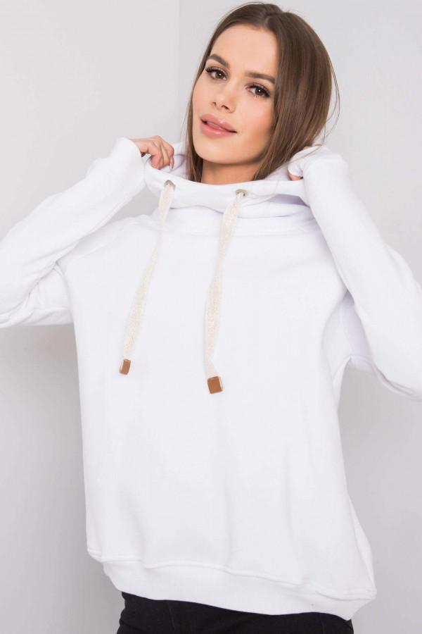 Biała bluza fitness z troczkami Fasma
