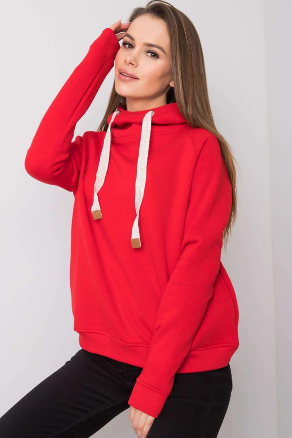 Czerwona bluza fitness z troczkami Fasma