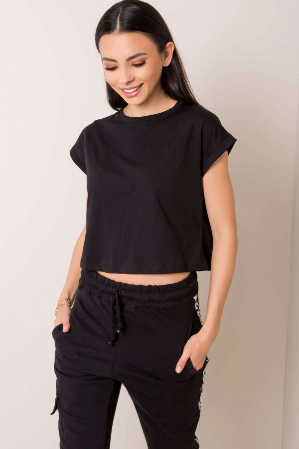 Czarny t-shirt crop top Spone