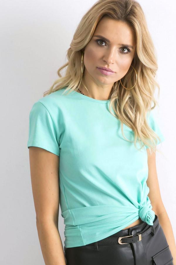 Ciemnomiętowy t-shirt O-Neck Esma