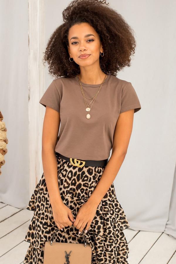 Brązowy t-shirt O-Neck Esma