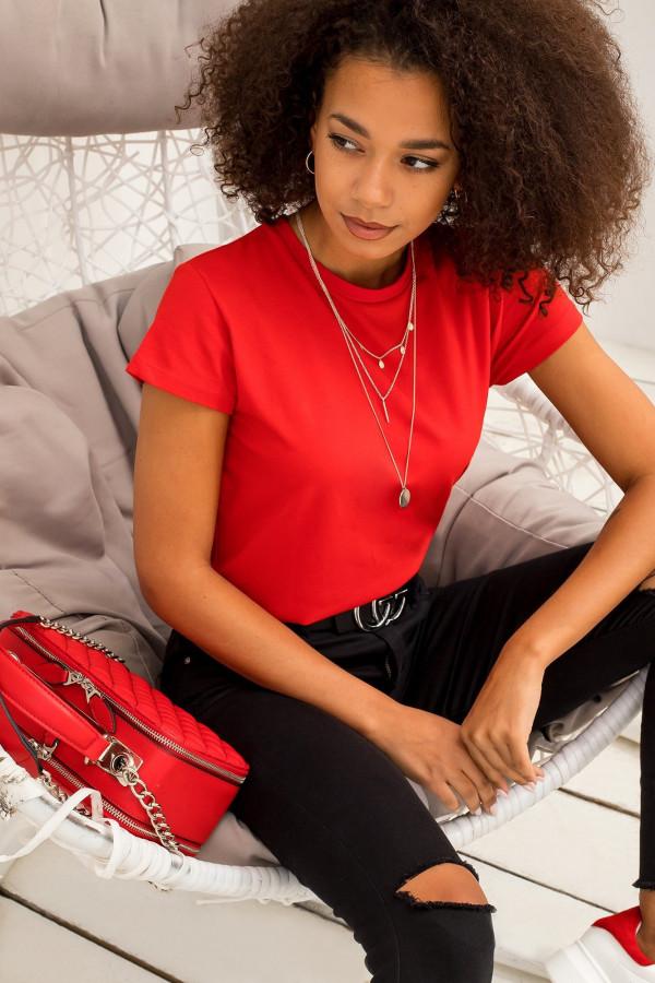 Czerwony t-shirt O-Neck Esma