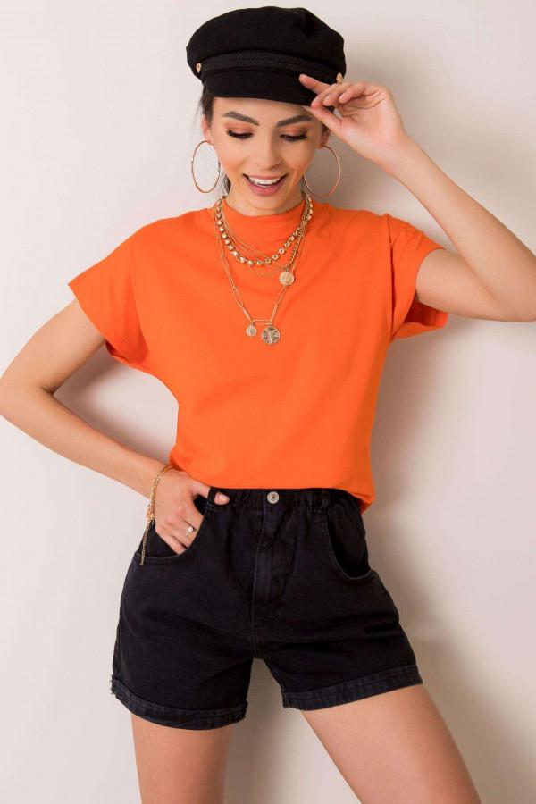 Pomarańczowy t-shirt z luźnymi rękawami Dose