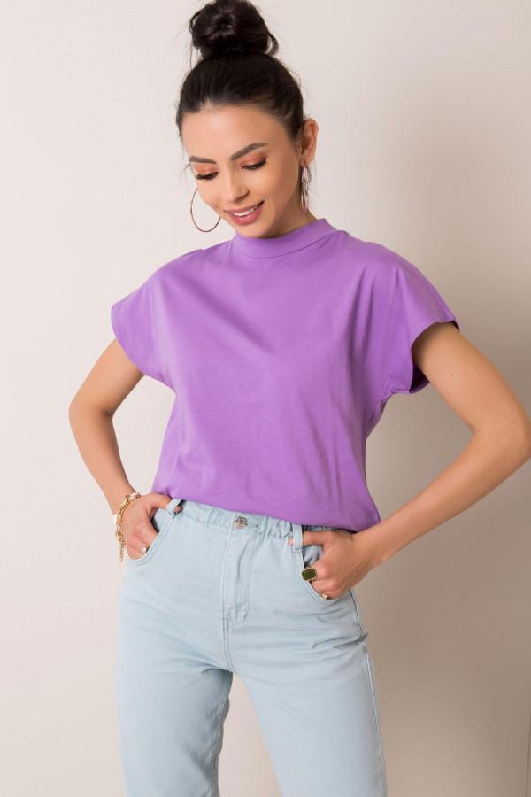 Fioletowy t-shirt z luźnymi rękawami Dose