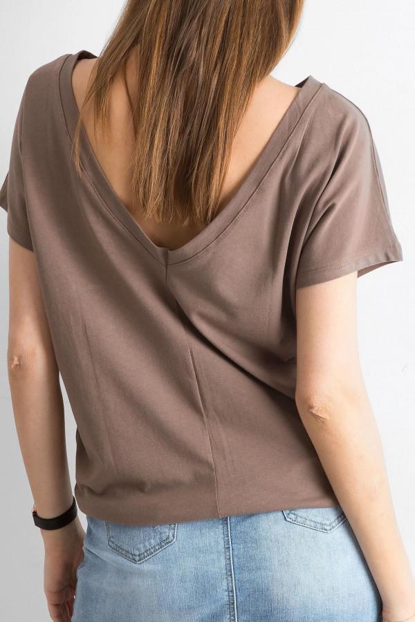 Brązowy t-shirt z wycięciem V na plecach Sharon