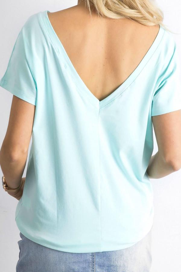 Miętowy t-shirt z wycięciem V na plecach Sharon