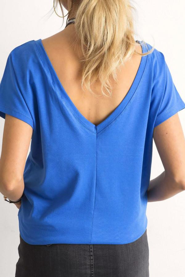 Niebieski t-shirt z wycięciem V na plecach Sharon