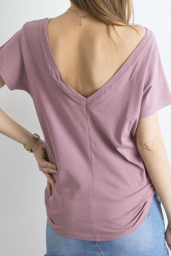 Brudnoróżowy t-shirt z wycięciem V na plecach Sharon