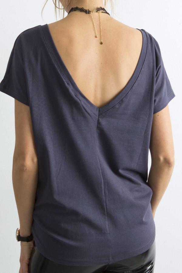 Grafitowy t-shirt z wycięciem V na plecach Sharon