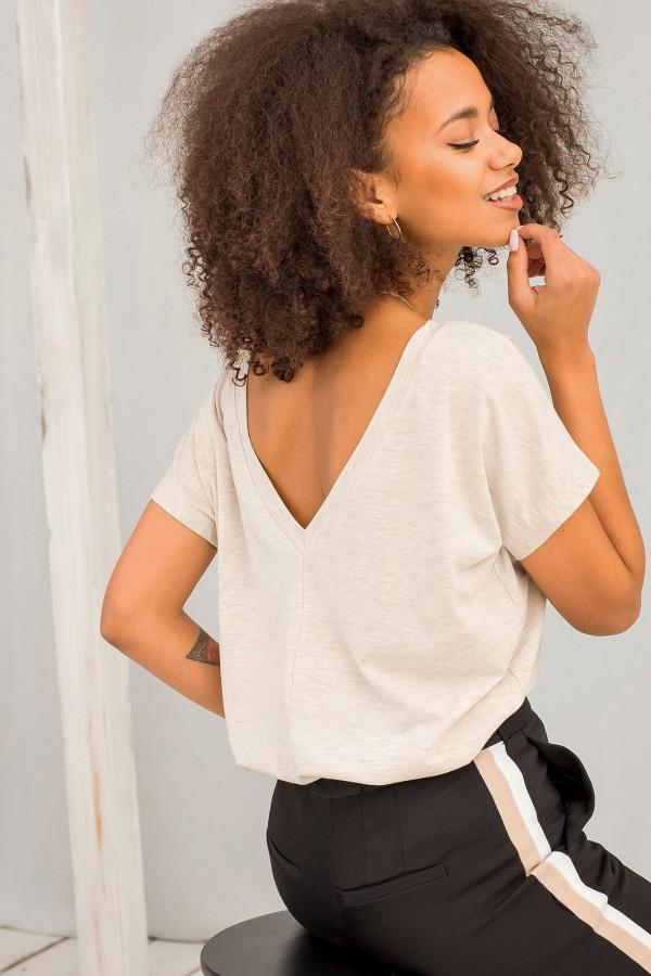 Beżowy melanżowy t-shirt z wycięciem V na plecach Sharon