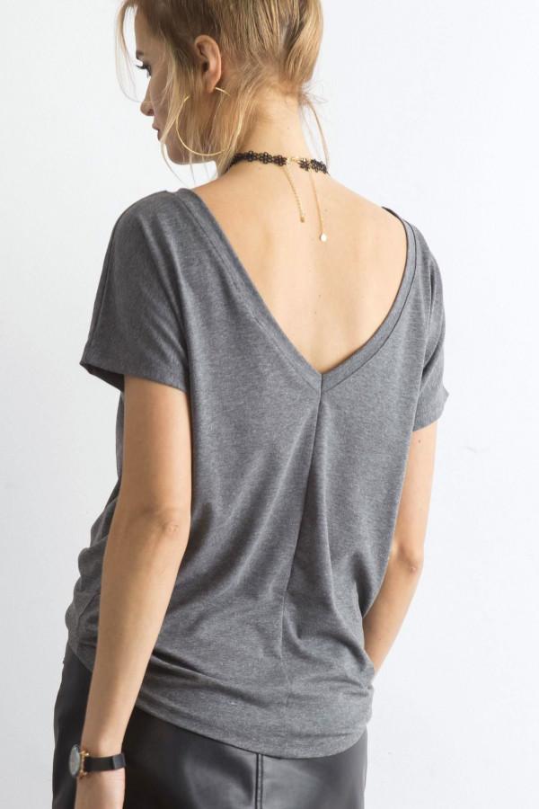 Ciemnoszary t-shirt z wycięciem V na plecach Sharon