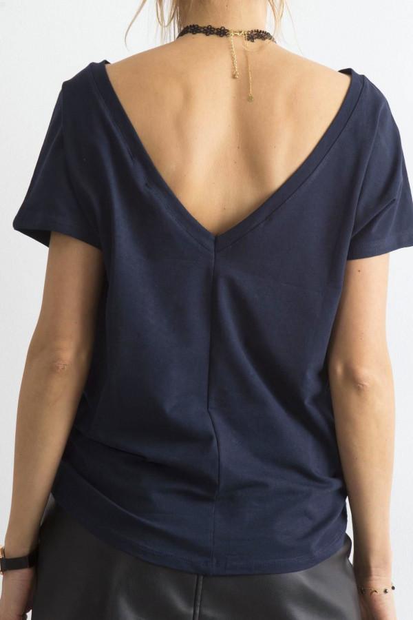 Granatowy t-shirt z wycięciem V na plecach Sharon