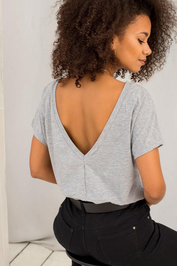 Szary melanżowy t-shirt z wycięciem V na plecach Sharon