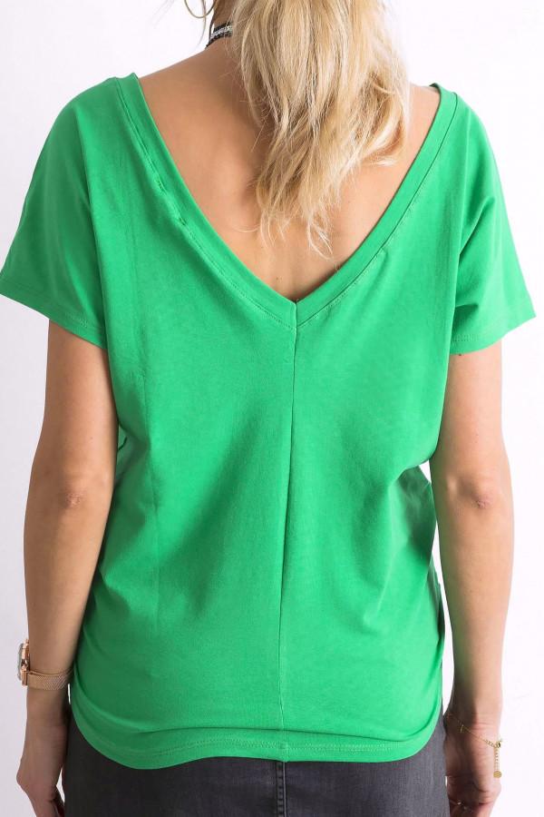Zielony t-shirt z wycięciem V na plecach Sharon