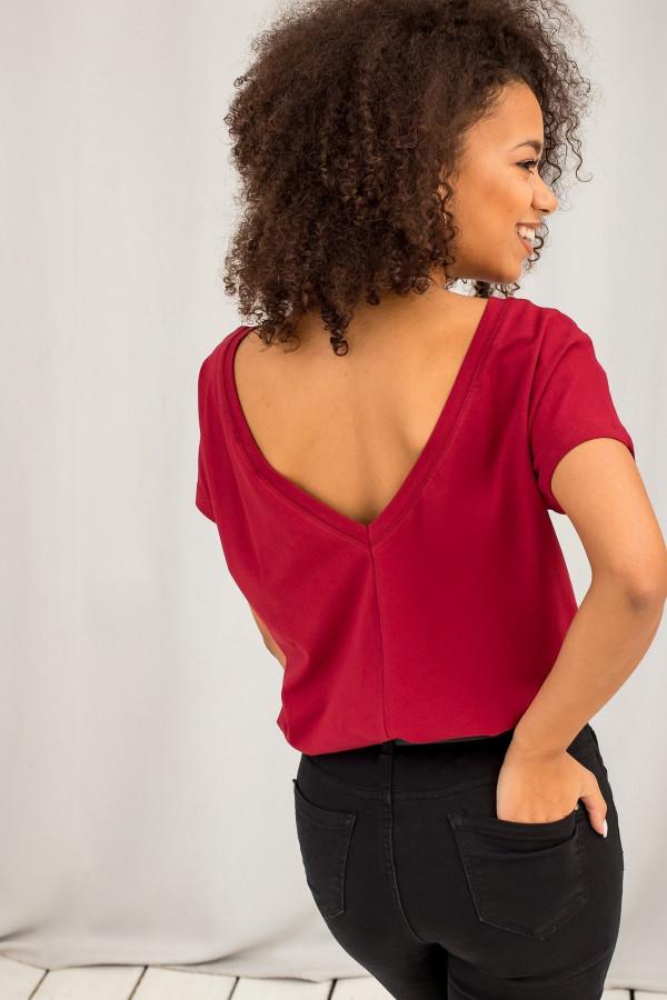 Bordowy t-shirt z wycięciem V na plecach Sharon