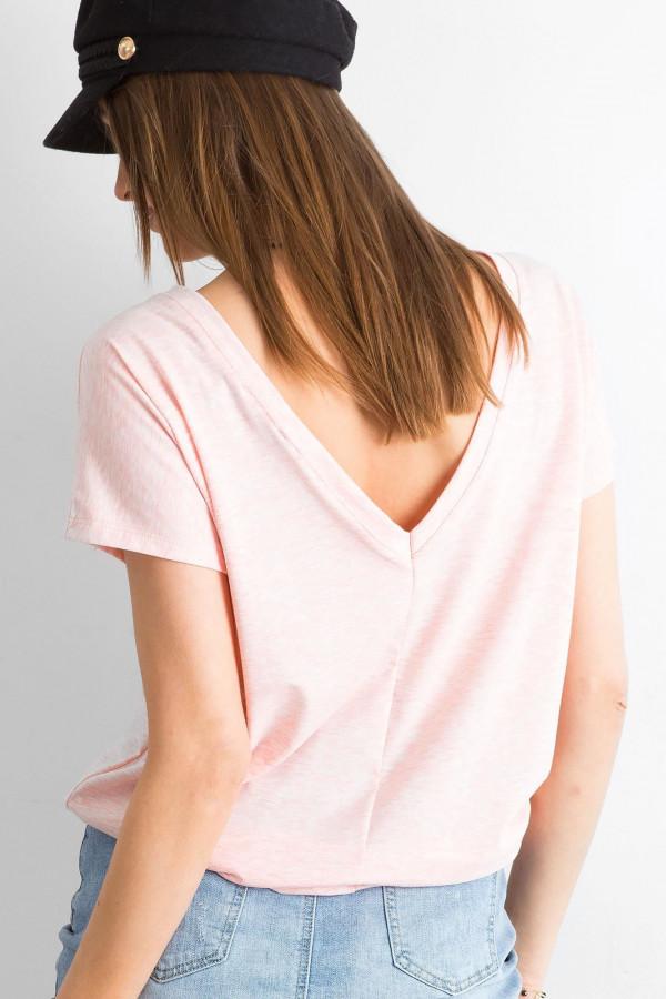 Jasnoróżowy melanżowy t-shirt z wycięciem V na plecach Sharon