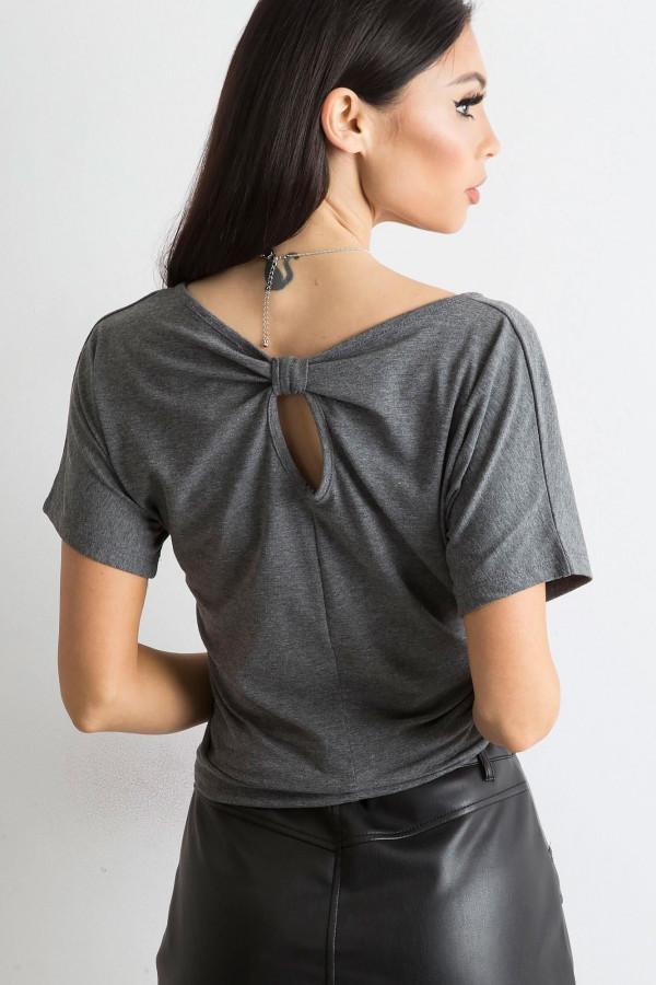 Ciemnoszary t-shirt z wycięciem na plecach Sofie