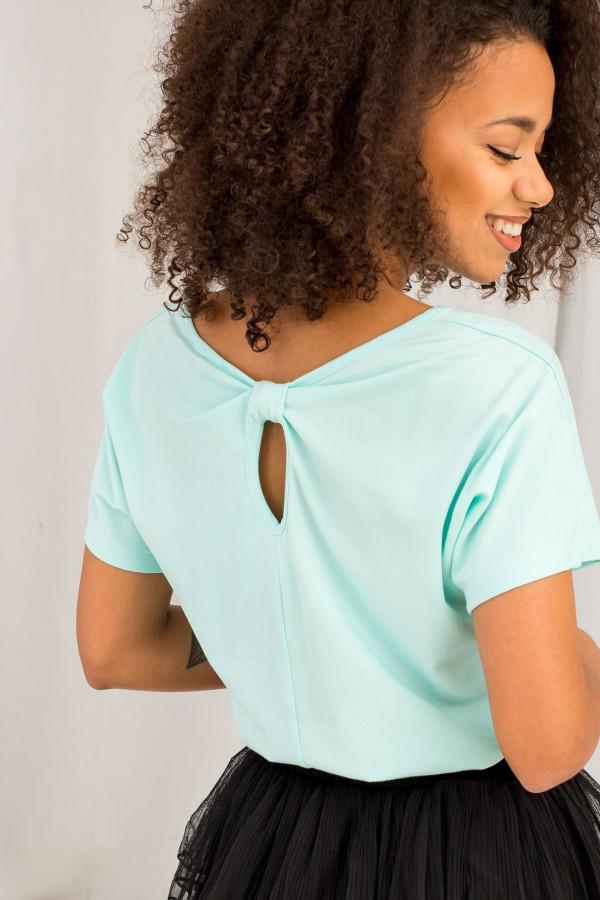 Miętowy t-shirt z wycięciem na plecach Sofie