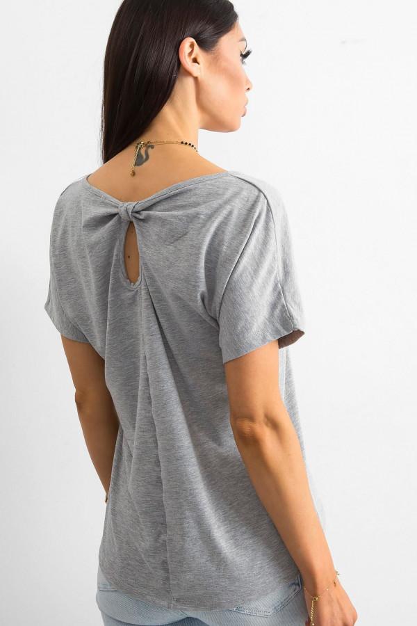 Szary t-shirt z wycięciem na plecach Sofie