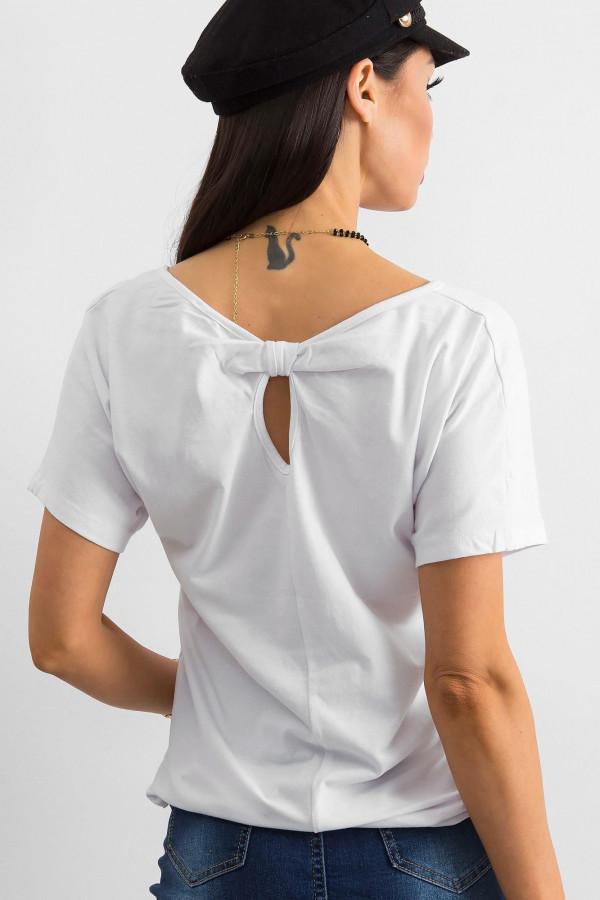 Biały t-shirt z wycięciem na plecach Sofie