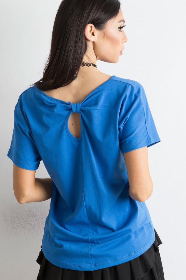 Niebieski t-shirt z wycięciem na plecach Sofie