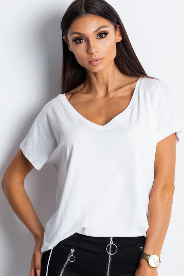 Biały t-shirt V-Neck Gala