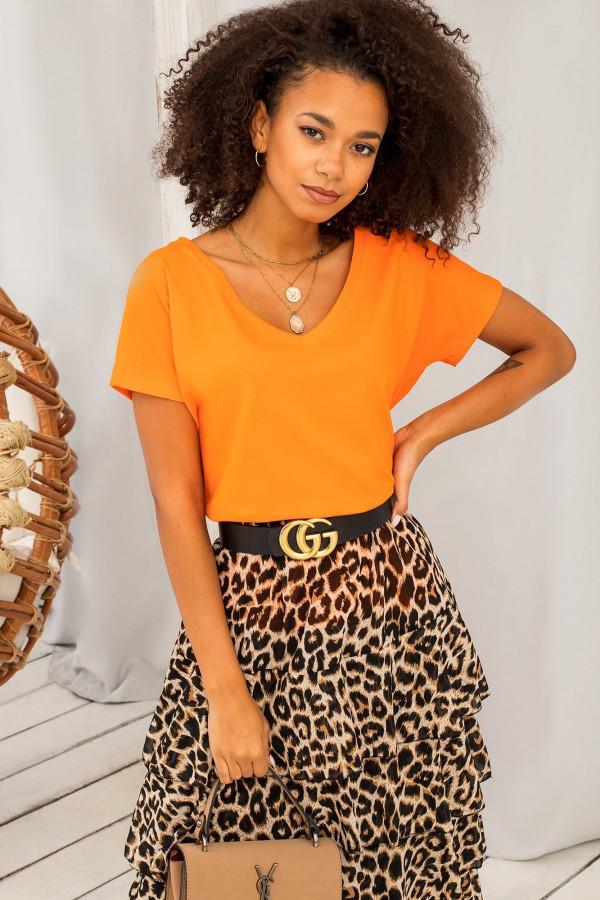 Neonowo pomarańczowy t-shirt V-Neck Gala