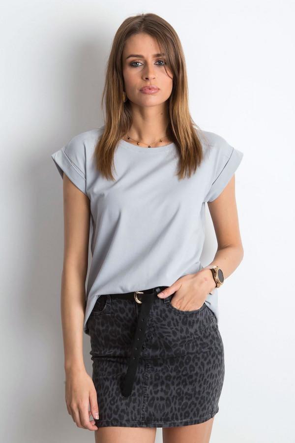 Jasnoszary t-shirt z zawijanymi rękawkami Nami
