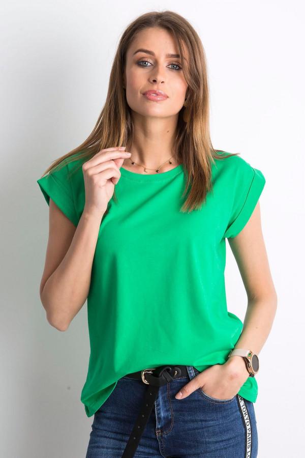 Zielony t-shirt z zawijanymi rękawkami Nami