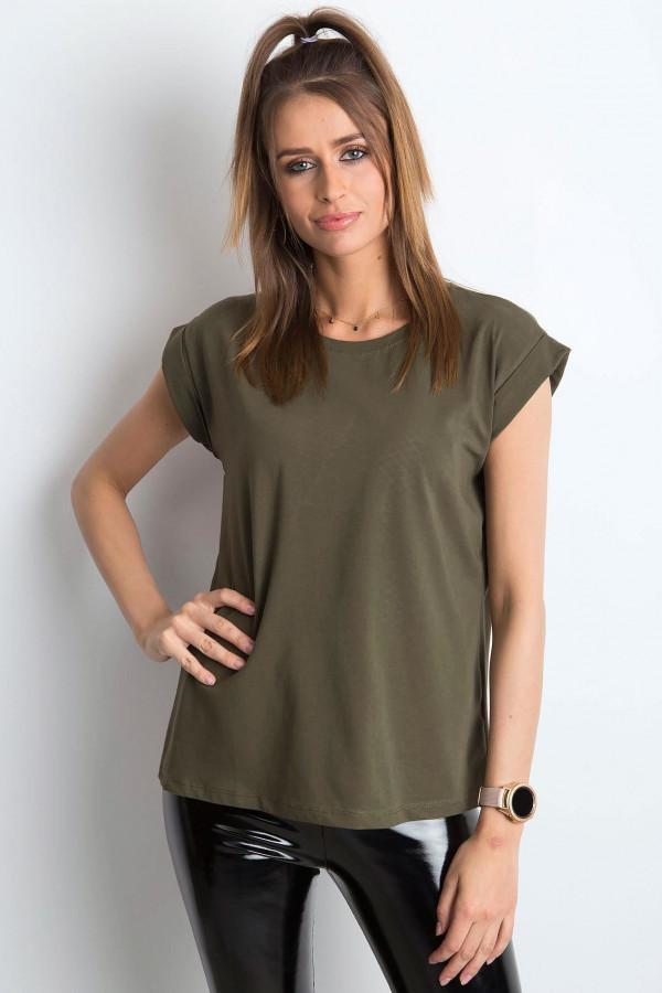 Khaki t-shirt z zawijanymi rękawkami Nami
