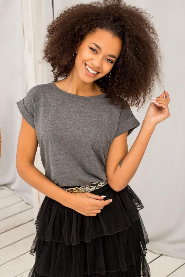 Ciemnoszary melanżowy t-shirt z zawijanymi rękawkami Nami