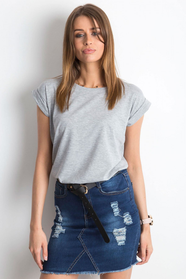 Szary t-shirt z zawijanymi rękawkami Nami