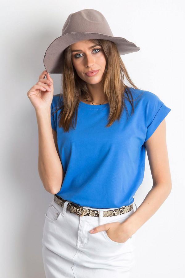 Ciemnoniebieski t-shirt z zawijanymi rękawkami Nami