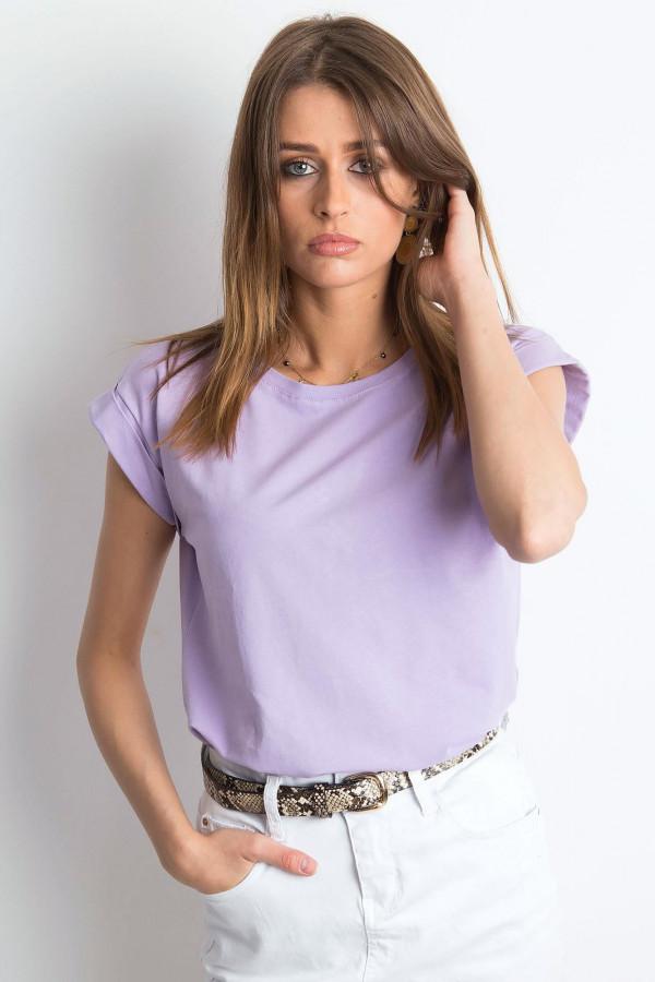 Fioletowy t-shirt z zawijanymi rękawkami Nami