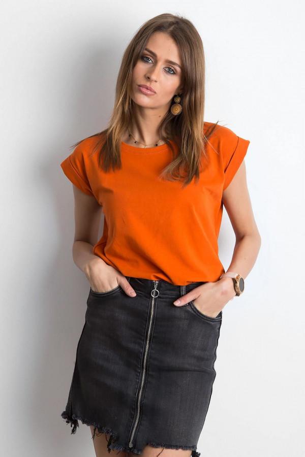 Ciemnopomarańczowy t-shirt z zawijanymi rękawkami Nami