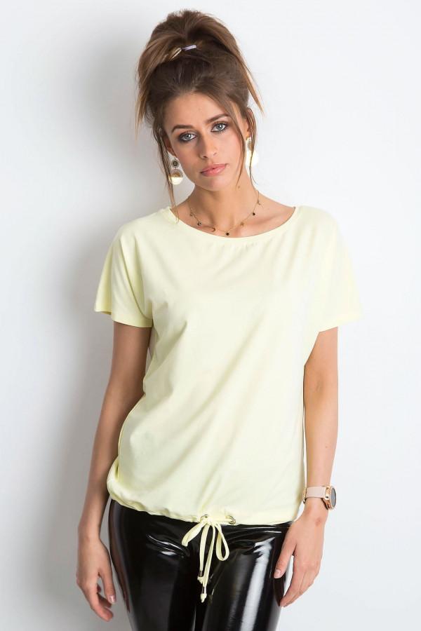 Jasnożółty t-shirt z wiązaniem Faso