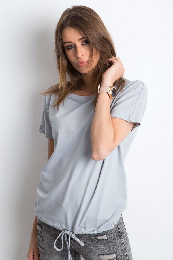 Jasnografitowy t-shirt z wiązaniem Faso