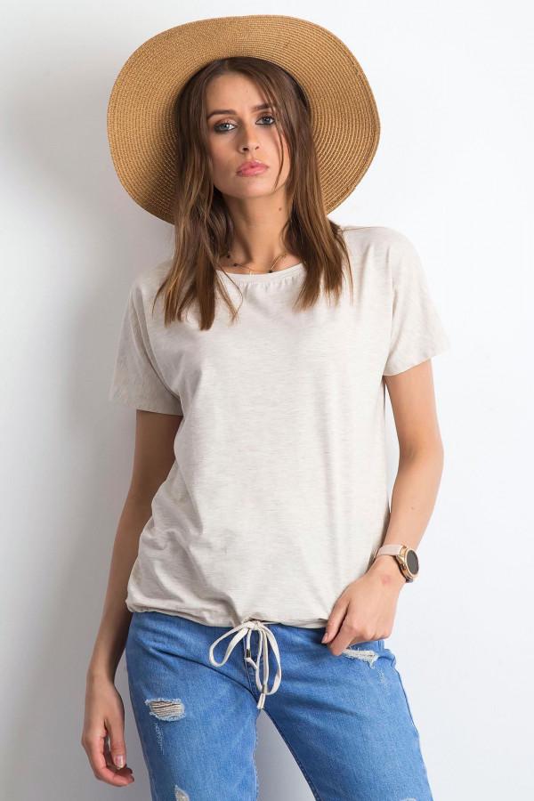 Beżowy melanżowy t-shirt z wiązaniem Faso