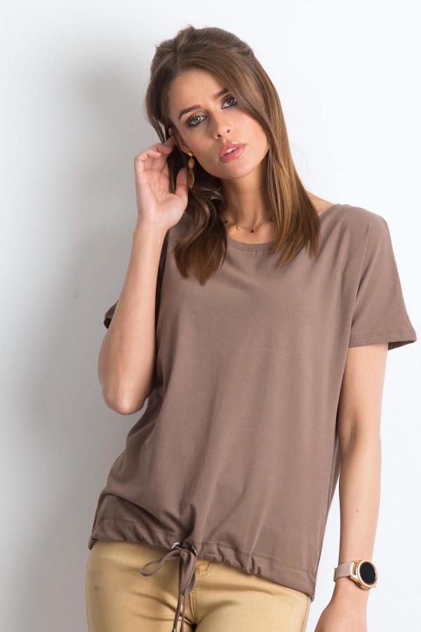 Kawowy t-shirt z wiązaniem Faso