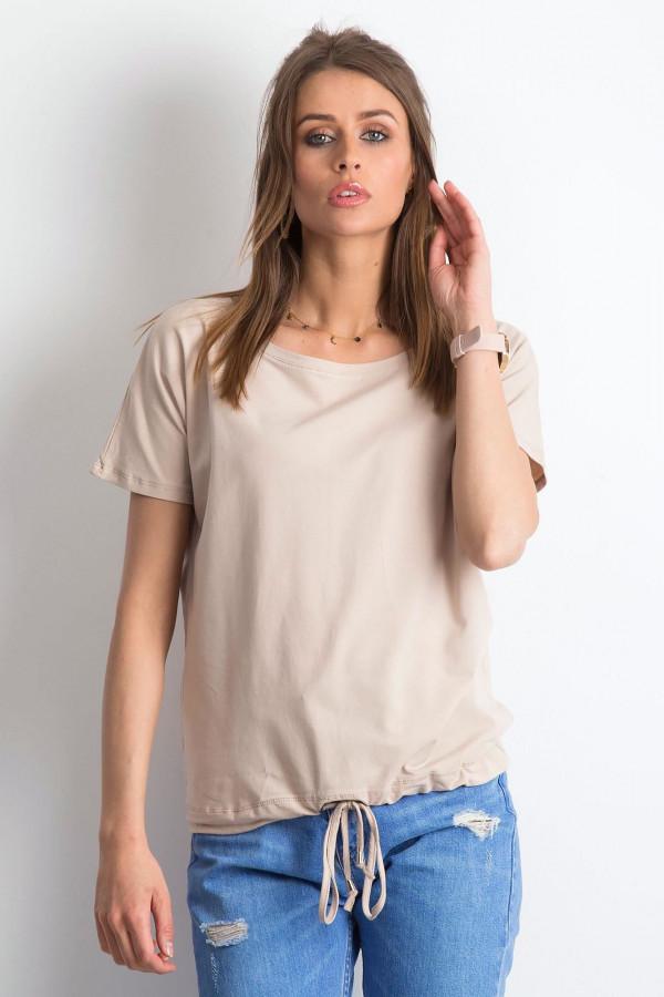 Jasnokawowy t-shirt z wiązaniem Faso