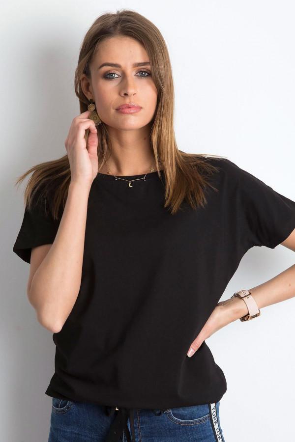 Czarny t-shirt z wiązaniem Faso