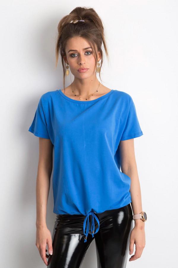 Ciemnoniebieski t-shirt z wiązaniem Faso