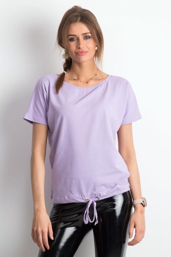 Jasnofioletowy t-shirt z wiązaniem Faso