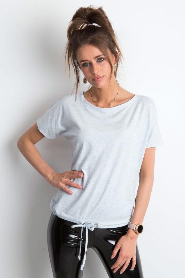 Niebieski melanżowy t-shirt z wiązaniem Faso