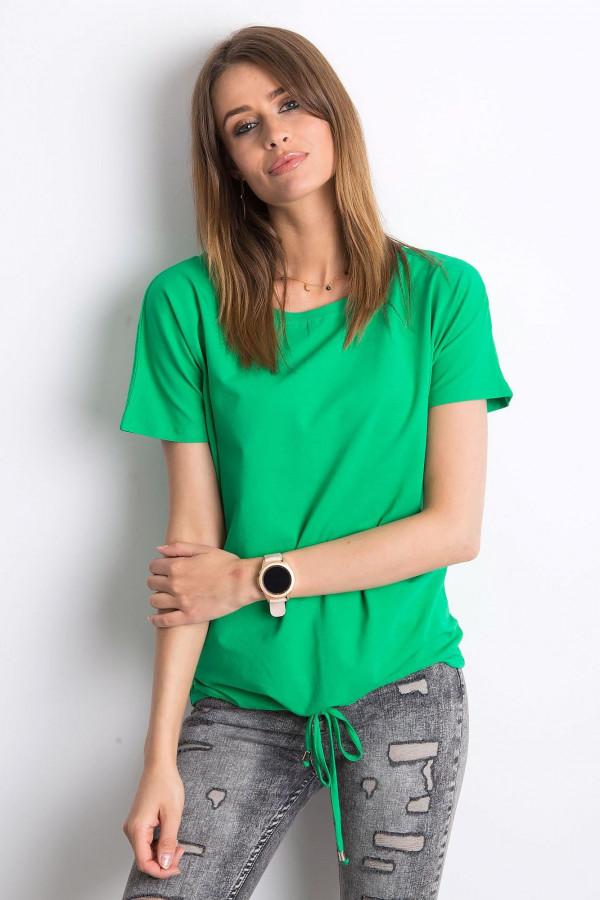 Zielony t-shirt z wiązaniem Faso